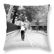 Man With Lamp Throw Pillow