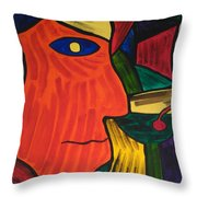 Man With Martini Glass Throw Pillow