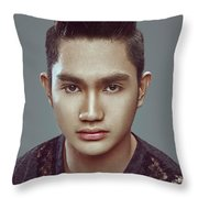 Man With Modern Bun Hairstyle In Black Shirt Throw Pillow