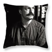 Man With Mustache Throw Pillow
