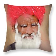 Man With Red Headwrap Throw Pillow