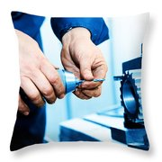 Man Working On Drilling And Boring Machine Throw Pillow