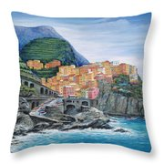 Manarola Cinque Terre Italy Throw Pillow