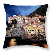 Manarola Di Notte Throw Pillow