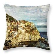 Manarola In The Sun - Vintage Version Throw Pillow