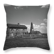 Manassas Battlefield Farmhouse 2 Bw Throw Pillow