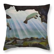 Manatee Cave Throw Pillow