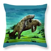 Manatee Mother And Young Throw Pillow
