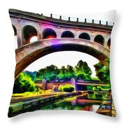 Manayunk Canal And Bridge Throw Pillow by Bill Cannon