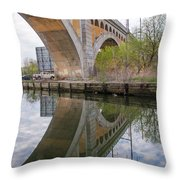 Manayunk Canal Bridge Reflection Throw Pillow