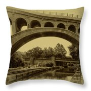 Manayunk Canal In Sepia Throw Pillow