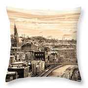 Manayunk In March - Canal View In Sepia Throw Pillow