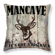 Mancave Deer Rack Throw Pillow