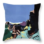 Manchuria And The Great Wall Vintage Poster Restored Throw Pillow