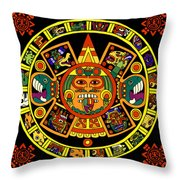 Mandala Azteca Throw Pillow