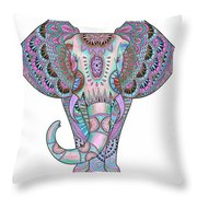 Mandala Elephant Indigo Throw Pillow