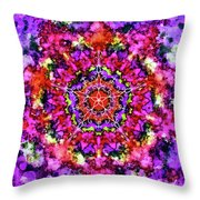 Mandala Floral Red Purple Throw Pillow
