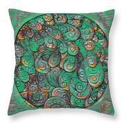 Mandala In Green Throw Pillow