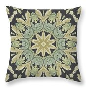 Mandala Leaves In Pale Blue, Green And Ochra Throw Pillow