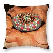 Mandala Stone In Rose Petals Throw Pillow