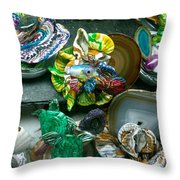 Mandarin Goby Hanging With Emerald Turtles Throw Pillow