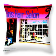 Mandela's Favorite Hair Salon  Throw Pillow