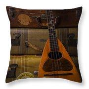 Mandolin And Suitcases Throw Pillow