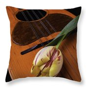 Mandolin And Tulip Throw Pillow