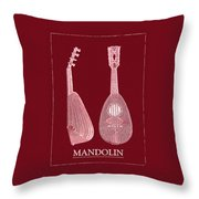 Mandolin Red Musical Instrument Throw Pillow