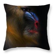 Mandrill Monkey Male Closeup Portrait Throw Pillow