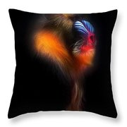 Mandrill Monkey Male Portrait II Throw Pillow