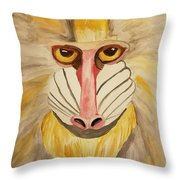 Mandrill Monkey Throw Pillow
