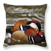 Mandrin Duck Posing Throw Pillow