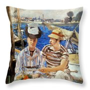 Manet: Boaters, 1874 Throw Pillow