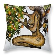 Mango Lady Throw Pillow