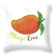 Mango Love Fruit Watercolor Mandala  Throw Pillow