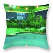 Mango Park Hotel Roof Top Pool Throw Pillow