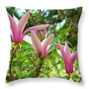 Mangolia Tree Flowers Art Prints Pink Magnolias Baslee Troutman Throw Pillow
