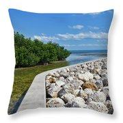 Mangroves Rocks And Ocean Throw Pillow