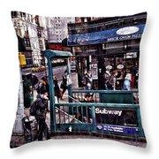 Manhattan 14th Street Throw Pillow