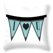 Pennant Deco Blues Streamer Sign I Love You Throw Pillow