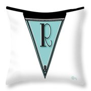 Pennant Deco Blues Banner Initial Letter R Throw Pillow