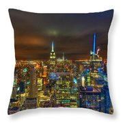 Manhattan At Night 355 Throw Pillow