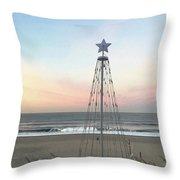 Manhattan Beach Christmas Star Throw Pillow