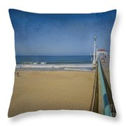 Manhattan Beach Pier Back Then Throw Pillow