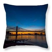 Manhattan Bridge At Dawn Throw Pillow