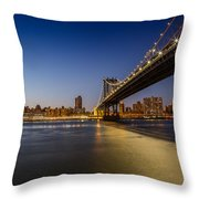 Manhattan Bridge At Night Throw Pillow