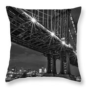 Manhattan Bridge Frames The Brooklyn Bridge Throw Pillow by Susan Candelario