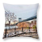 Manhattan Bridge From Brooklyn Bridge Park Throw Pillow