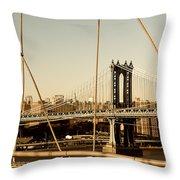 Manhattan Bridge From The Brooklyn Bridge  Throw Pillow